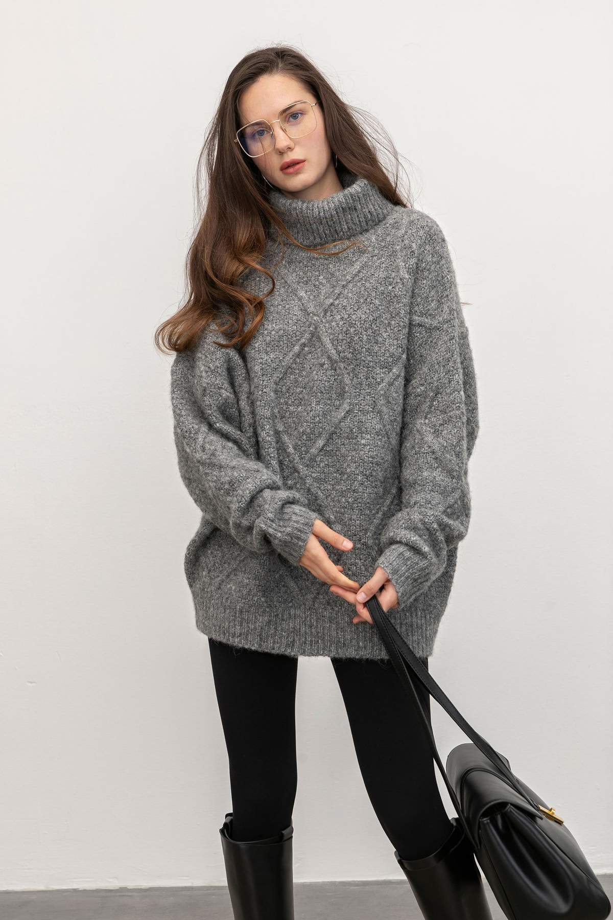 Sabrina Grey Diamond Turtleneck Sweater $37.49