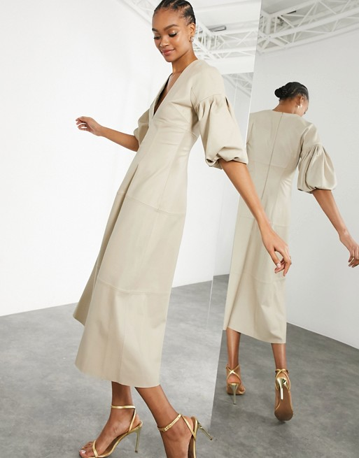 ather midi dress with plunge and puff sleeve in stone $419.00