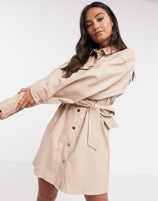 leather look button through mini shirt dress with belt in stone $56.00