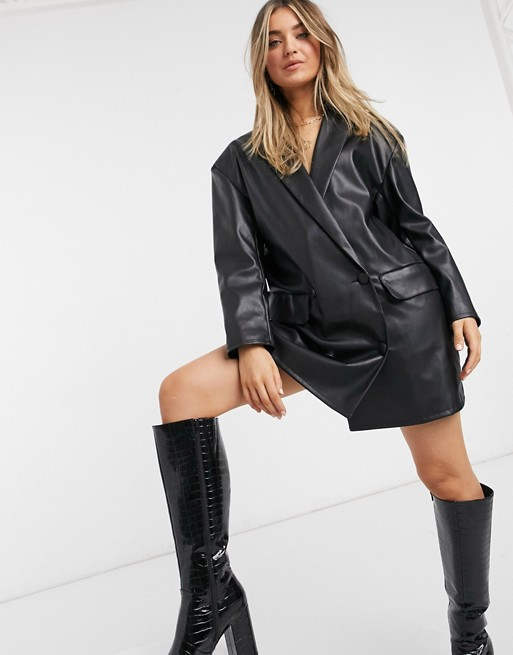 leather-look oversized mini blazer dress in black $64.00