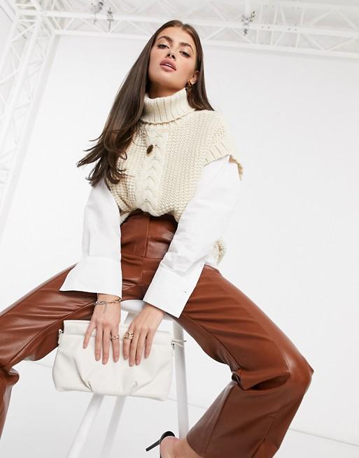 Vero Moda Aware cable knit vest with roll neck in cream $59.00