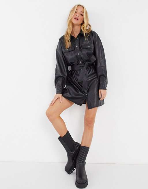 leather-look button-through belted mini shirt dress in black $56.00