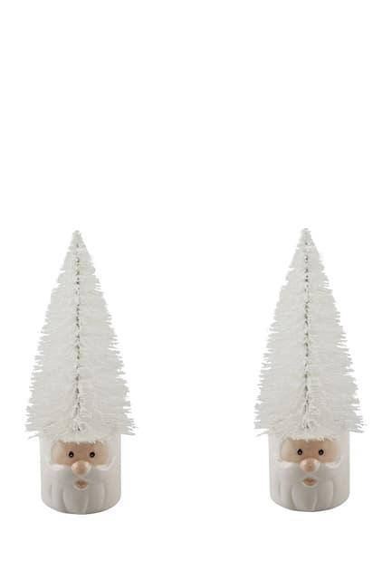 "FLORA BUNDA Mini 11\"" Christmas Trees in Ceramic Santa - Set of 2 $17.97"