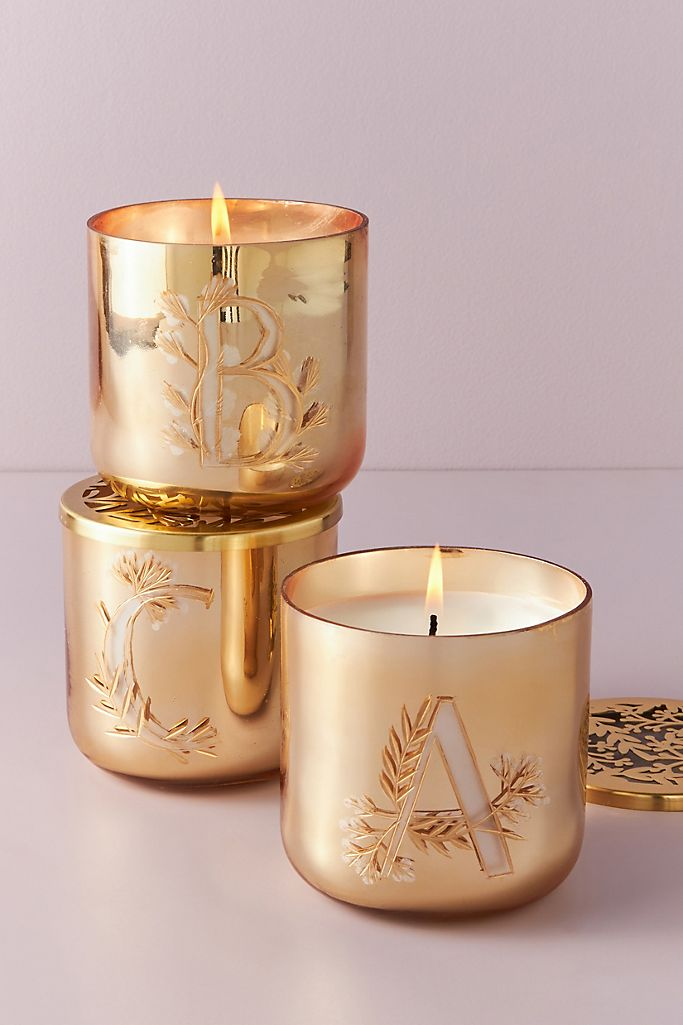 Holly Monogram Glass Candle $28.00