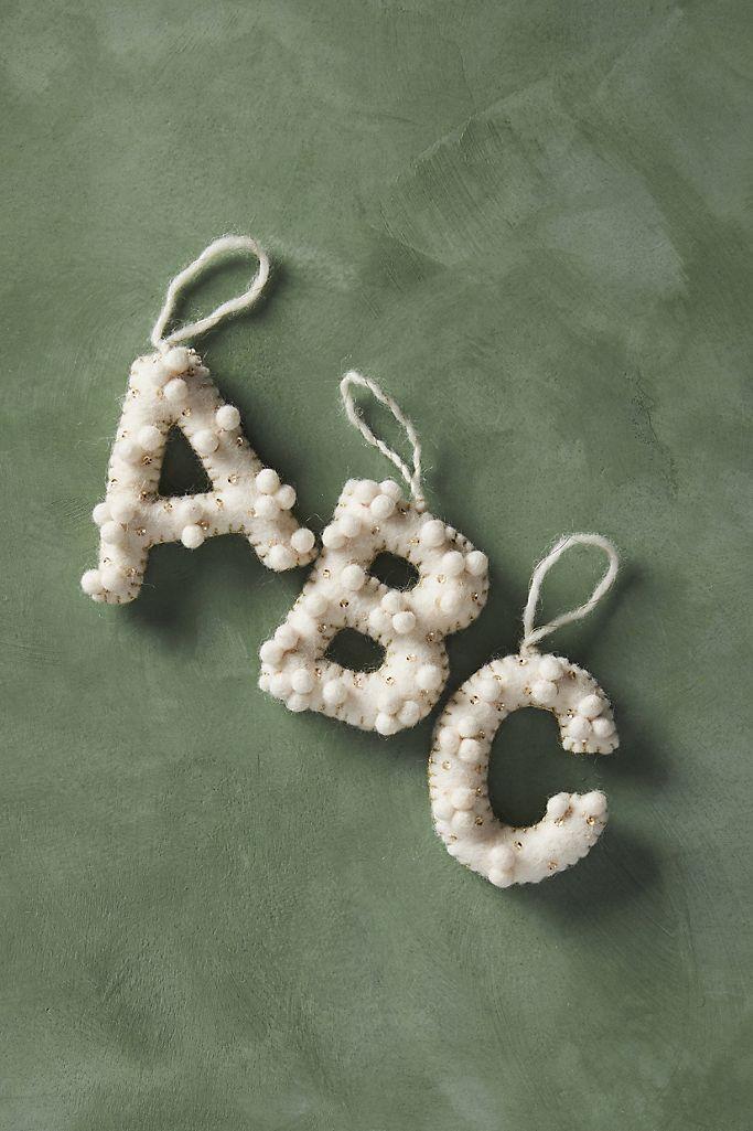 Holly Pommed Monogram Ornament $10.00