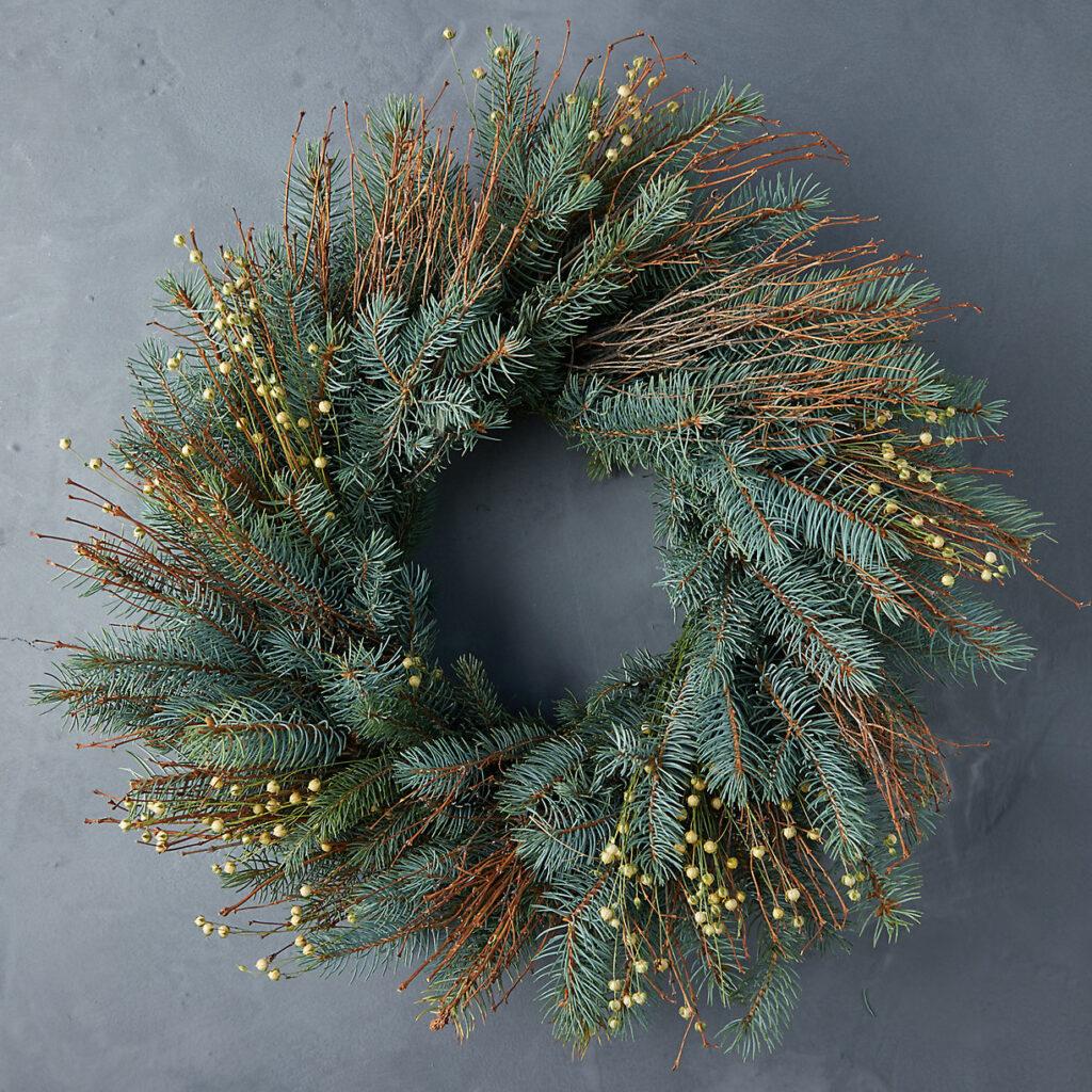 Fresh Noble Fir + Quail Brush Twig Wreath $98.00