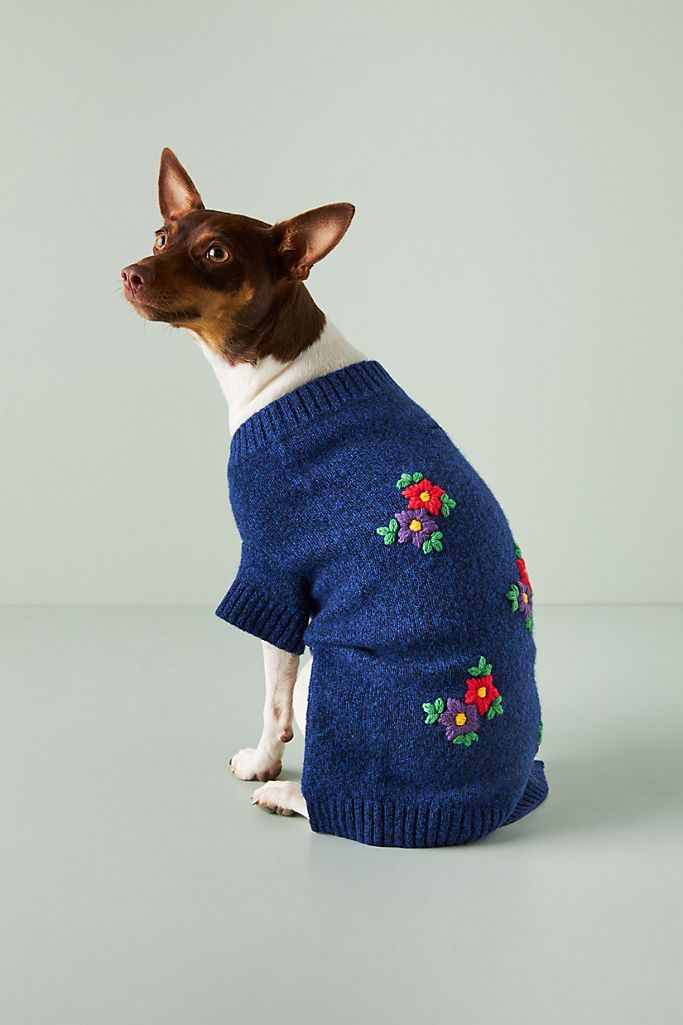 Embroidered Flower Dog Sweater $78.00