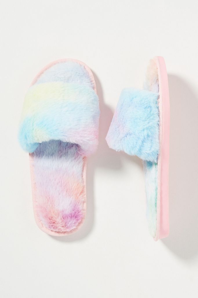 Leila Tie-Dye Faux Fur Slippers $48.00