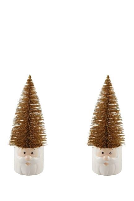 "FLORA BUNDA Mini 11\\\"" Christmas Trees in Ceramic Santa - Set of 2  $17.97"