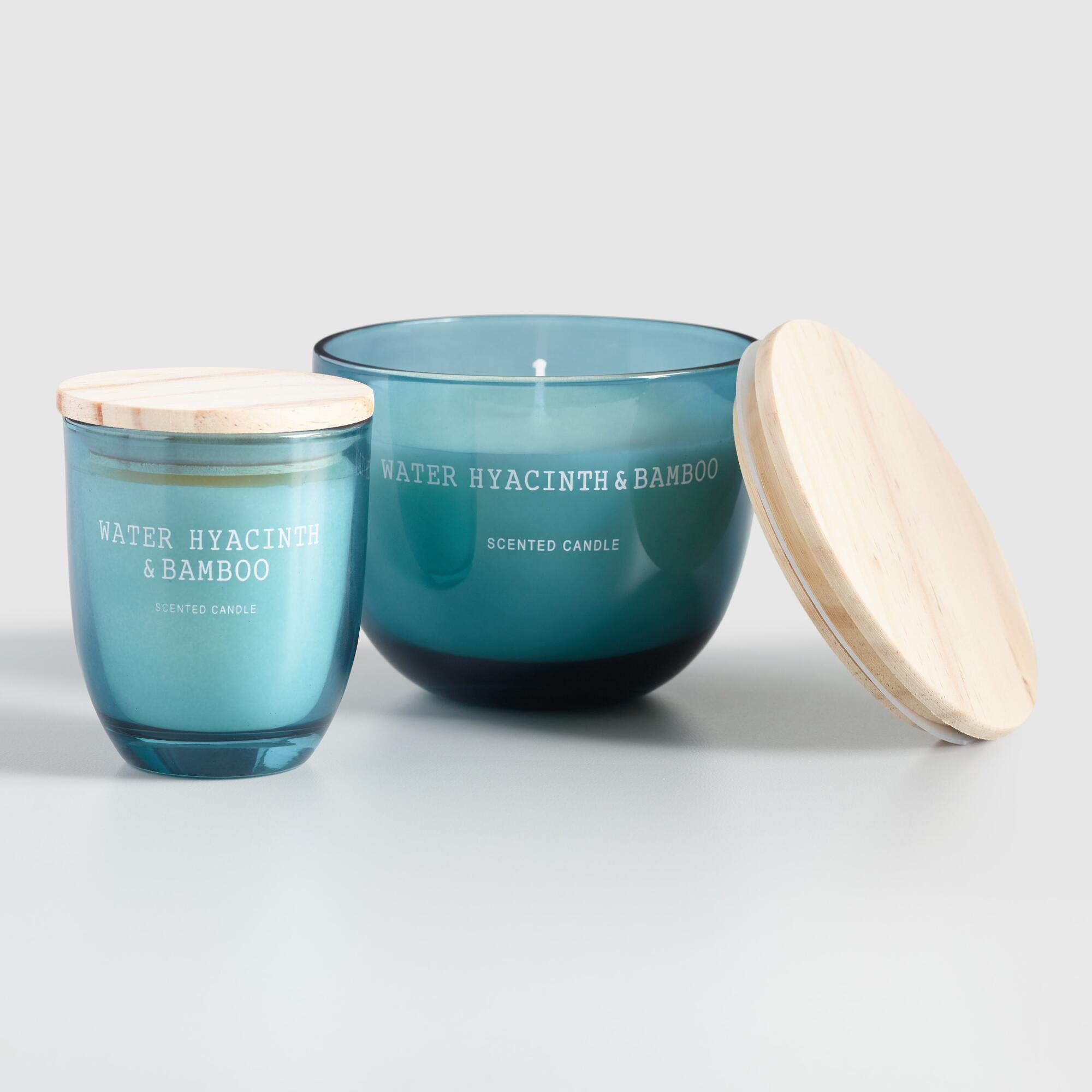 Light Blue Water Hyacinth And Bamboo Filled Jar Candle $9.99-$14.99