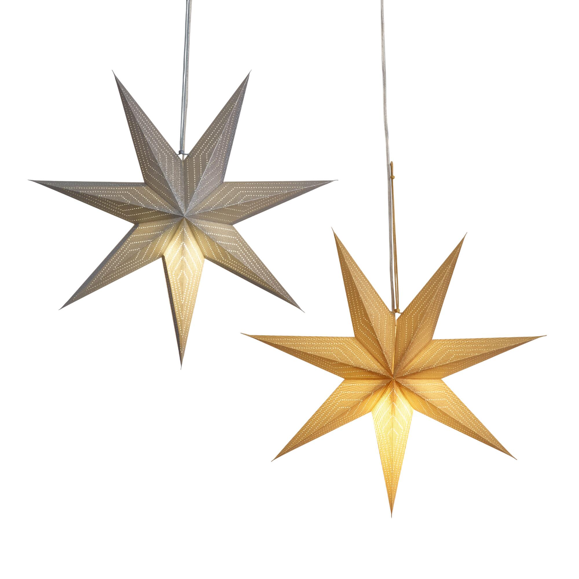 Silver And Gold Glitter Star Paper Pendant Shades Set Of 2 $25.98