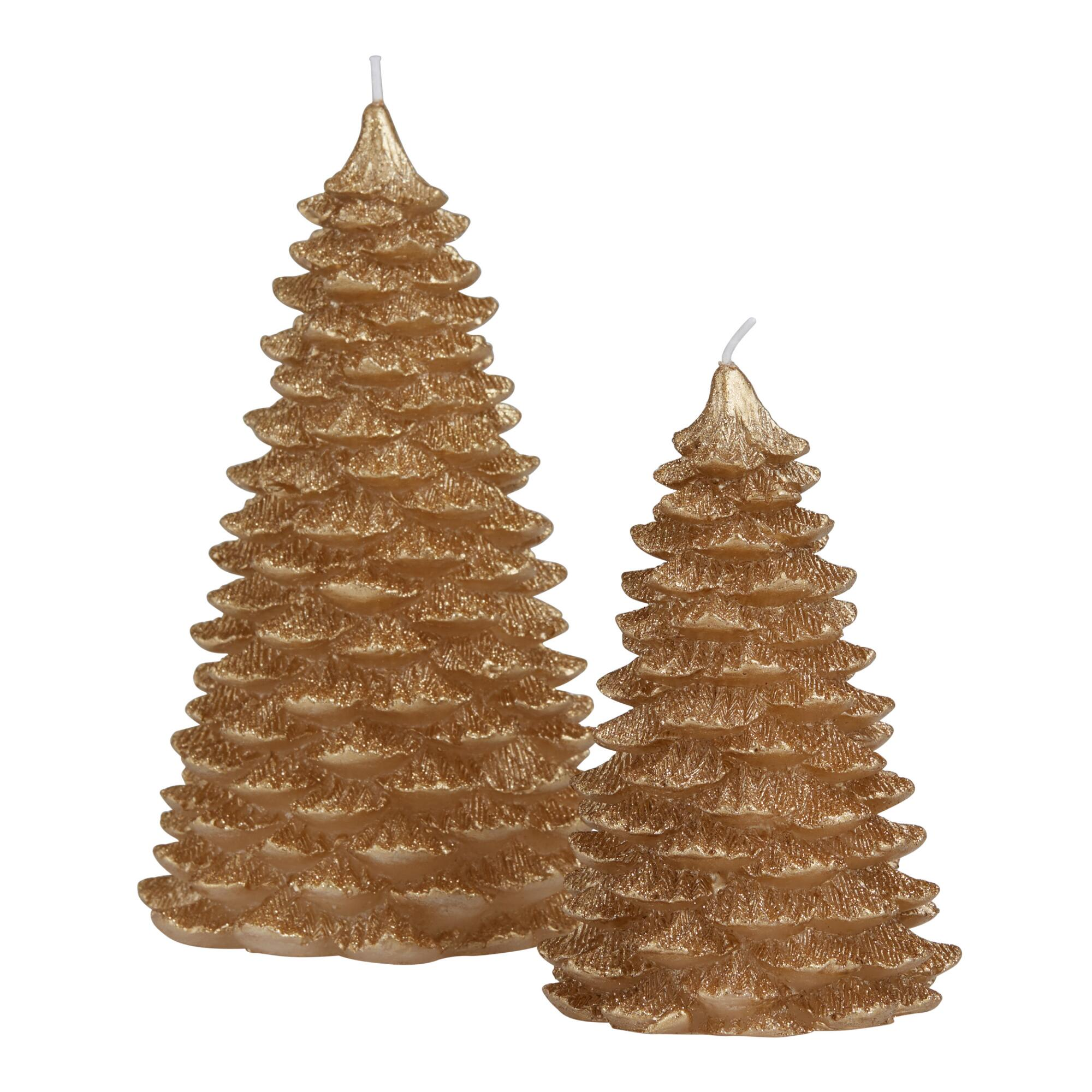 Gold Glittered Christmas Tree Candle $6.99-$9.99