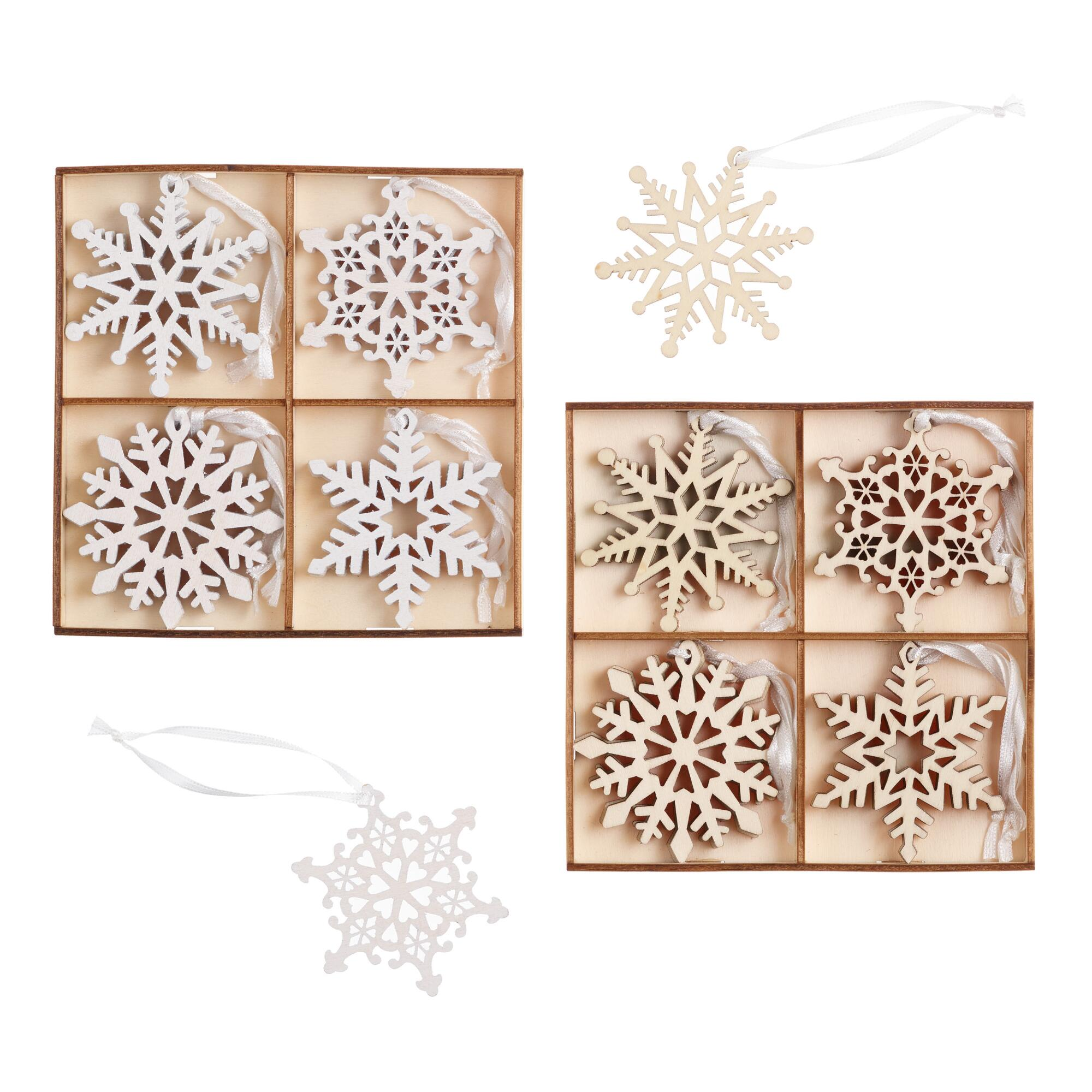 12 Pack Wood Snowflake Boxed Ornaments Set Of 2 $15.98
