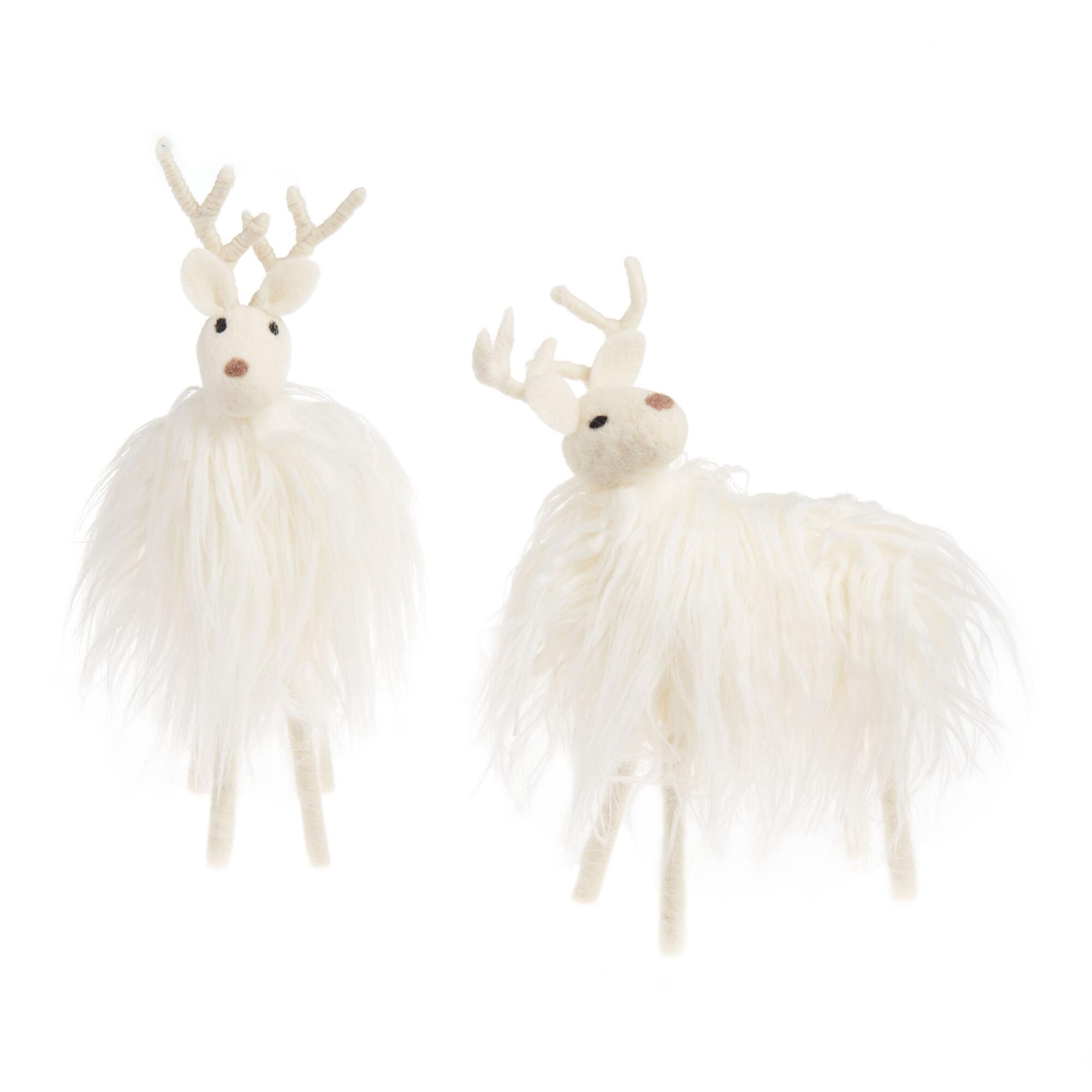 White Woolly Faux Fur Deer Decor Set Of 2 $25.98