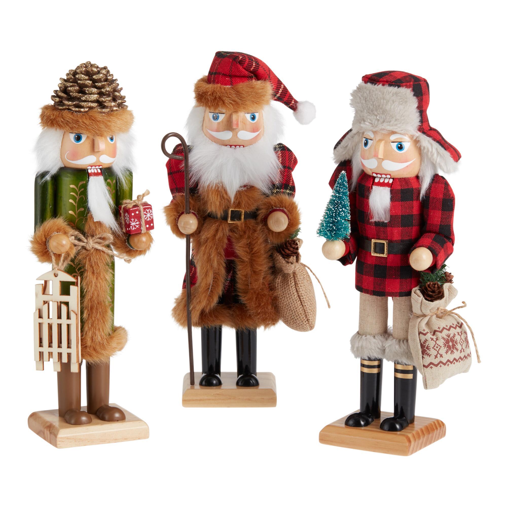 Rustic Woodland Santa Nutcrackers Set Of 3 $59.97