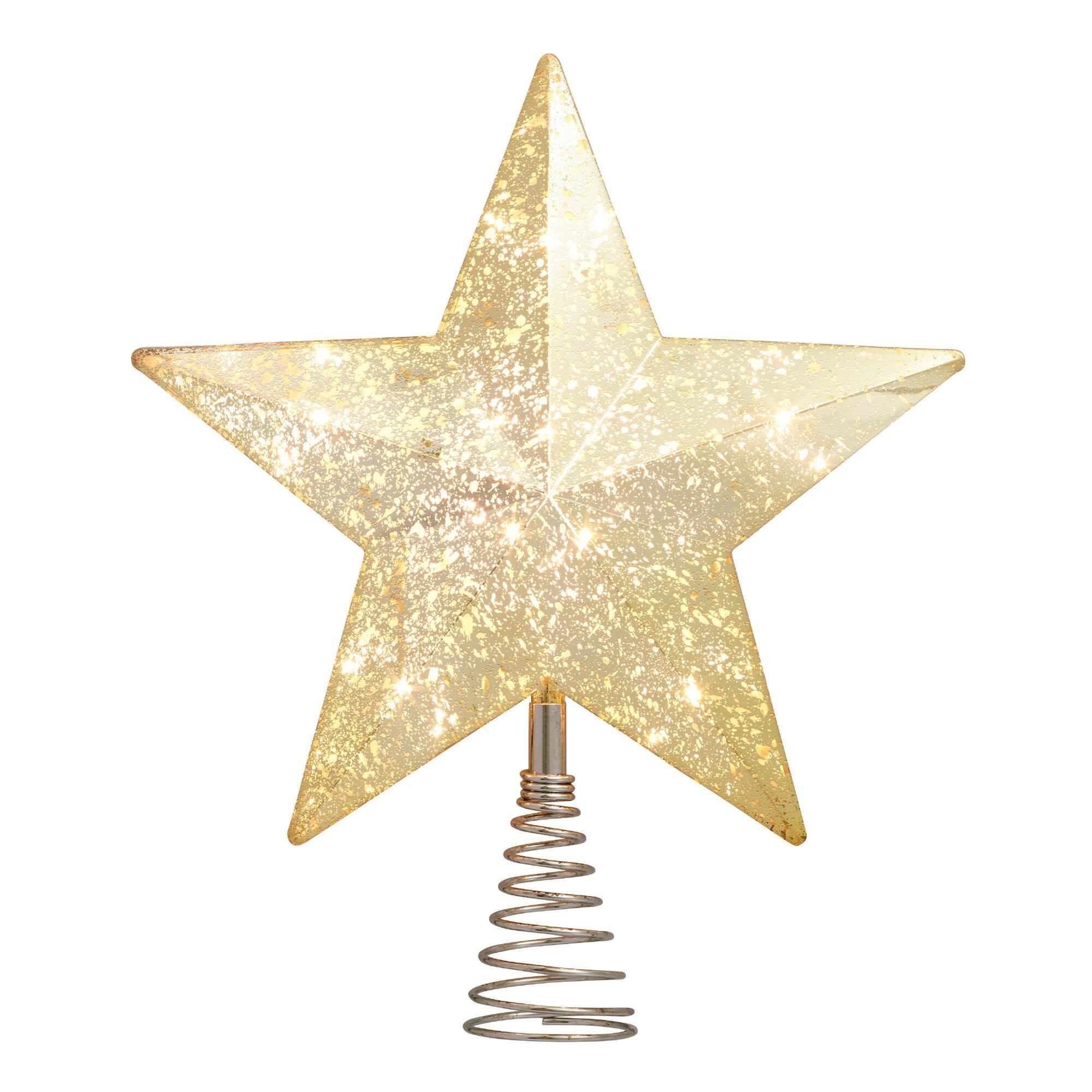 Vintage Gold Faceted Star Light Up Tree Topper $24.99