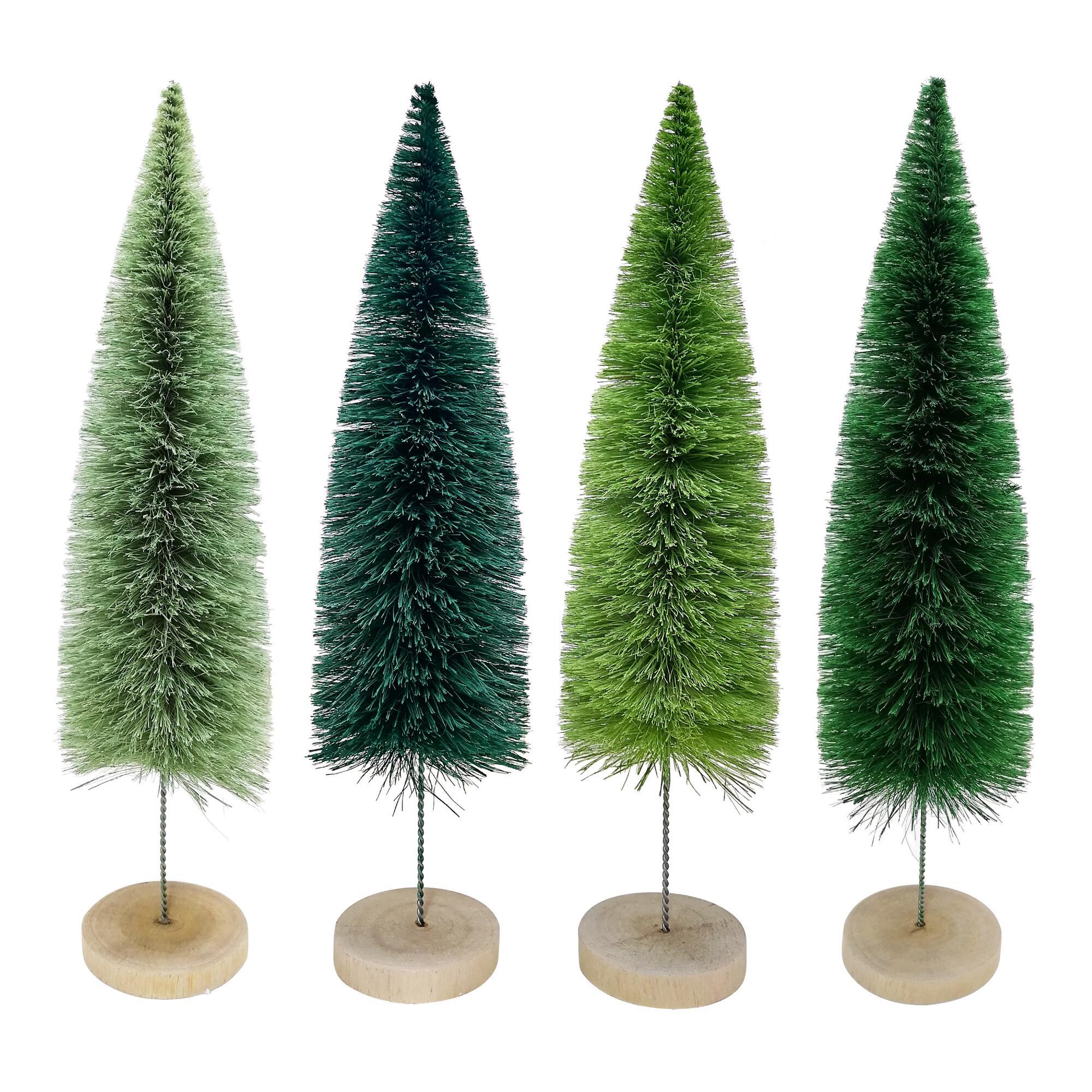 Large Green Bottlebrush Trees Set Of 4 $31.96