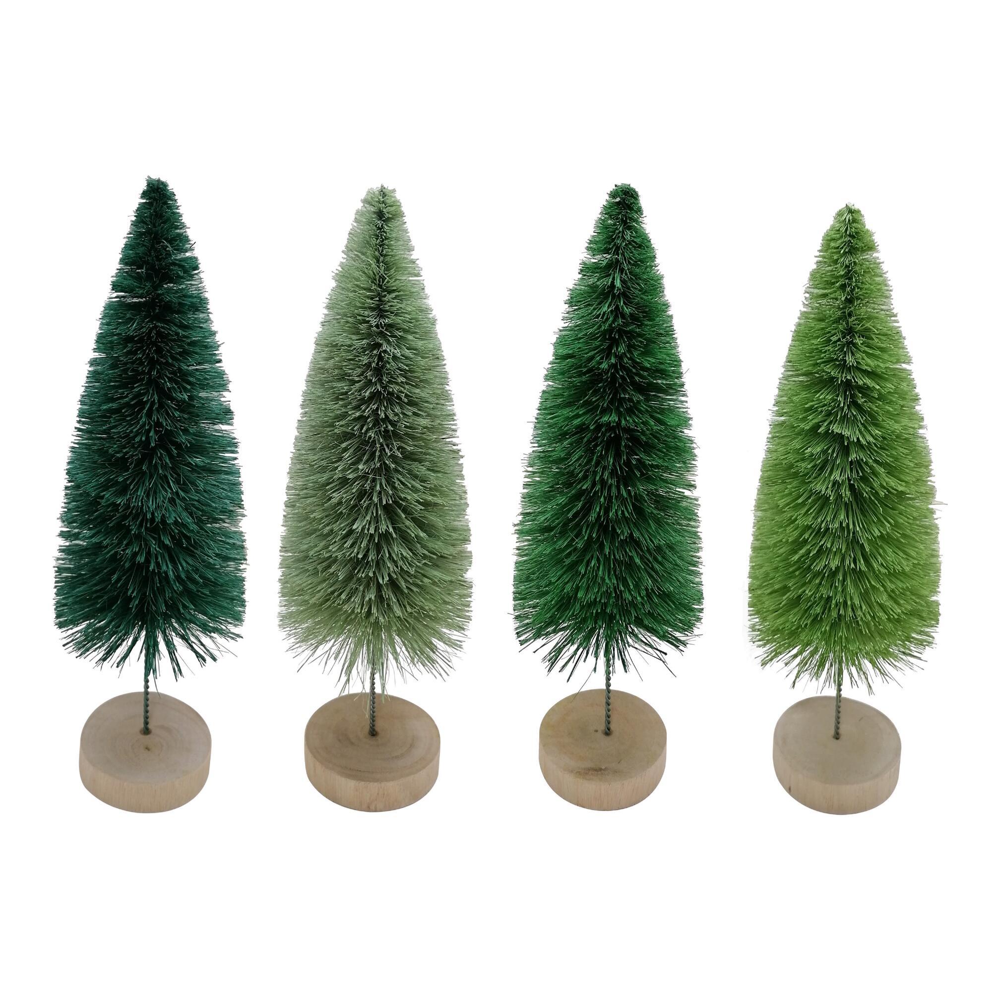 Green Bottlebrush Trees Set Of 4 $19.96
