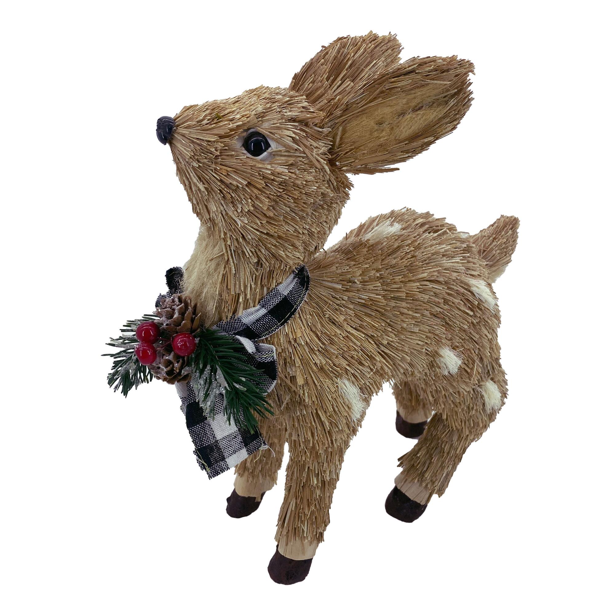 Natural Fiber Deer With Greenery And Gingham Bow $14.99