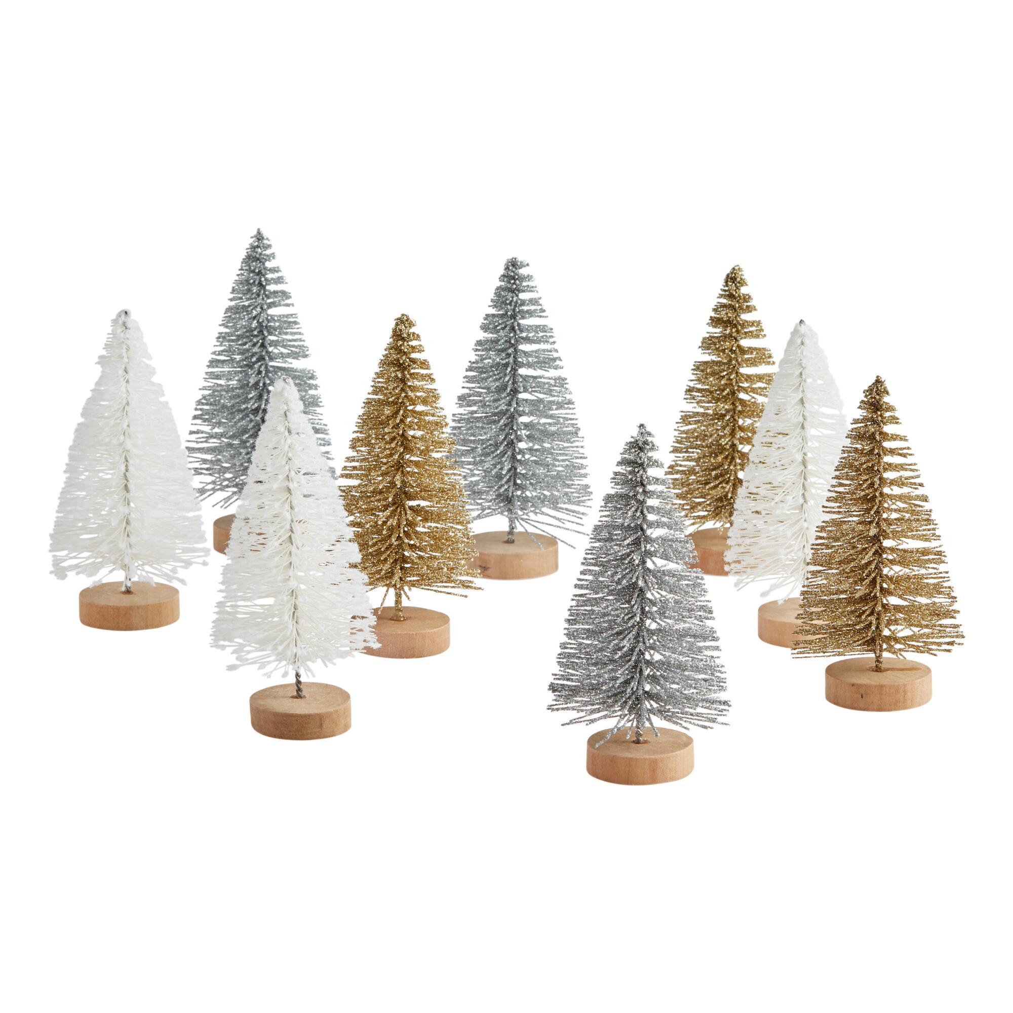 3 Pack Winter Bottlebrush Trees Set Of 3 $23.97