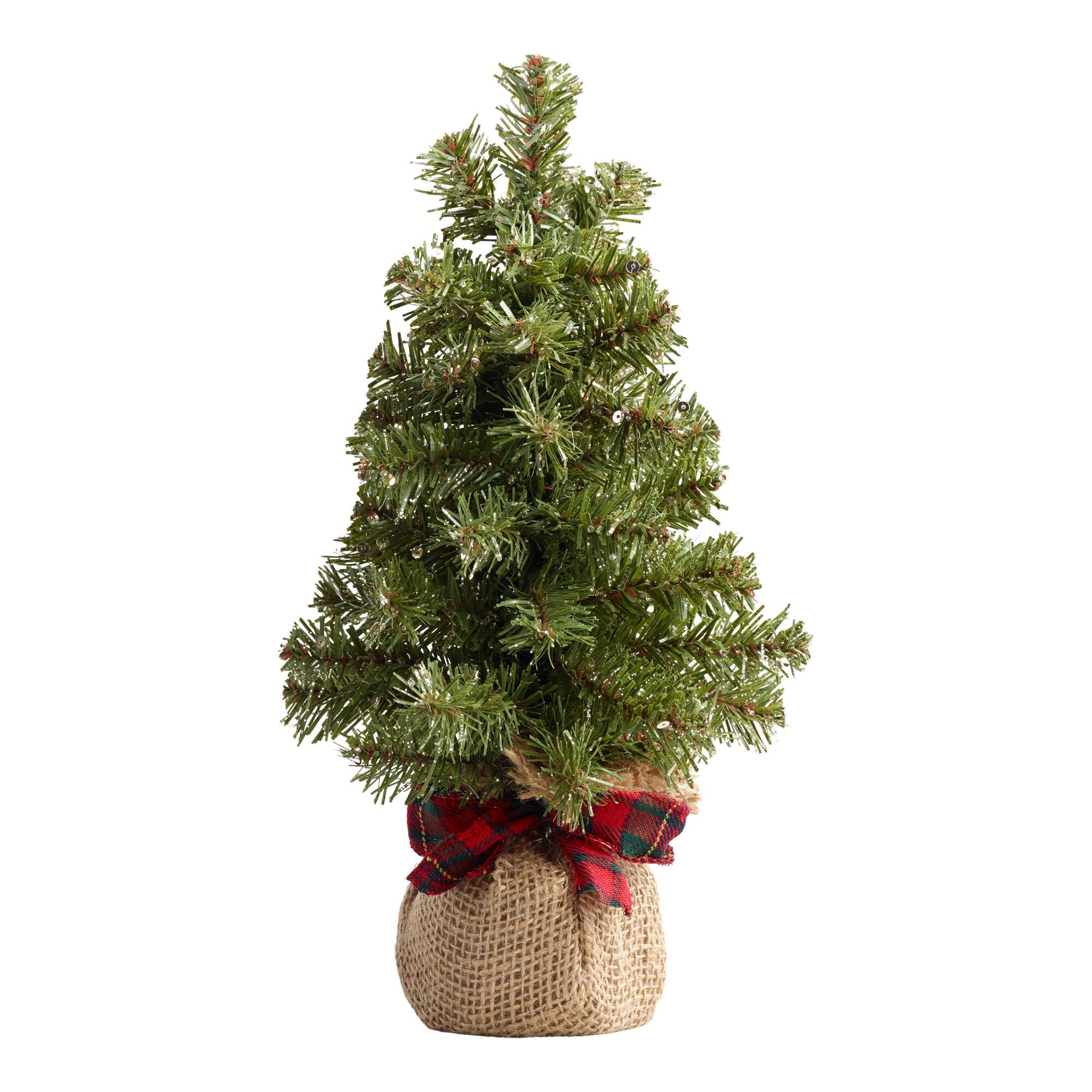 Glittered Faux Tabletop Tree With Burlap Base And Plaid Bow $7.99