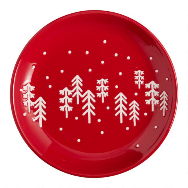 Red Holiday Wax Resist Mud Cloth Plates Set Of 4 $31.96