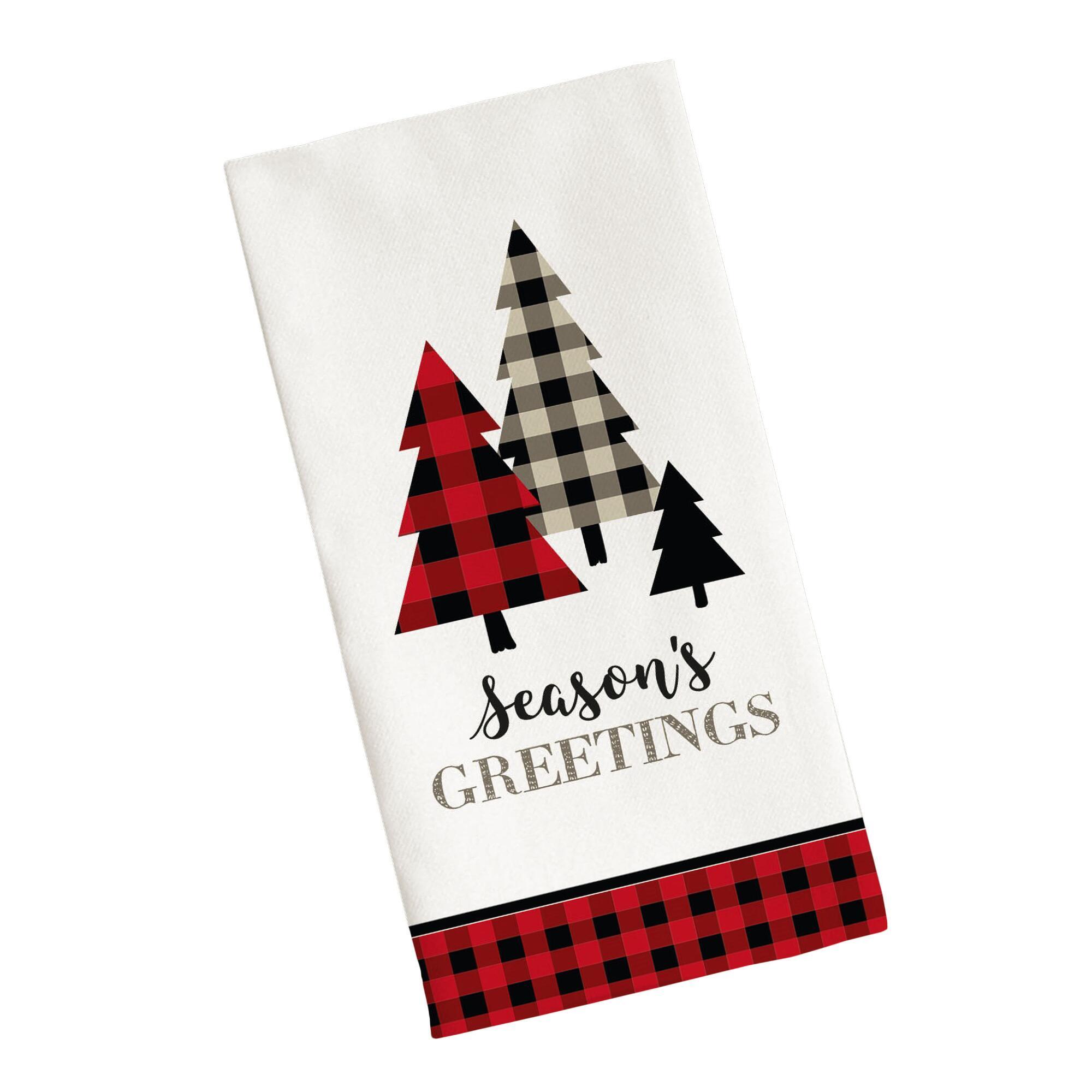 Season\\\'s Greetings Plaid Tree Kitchen Towel $5.99