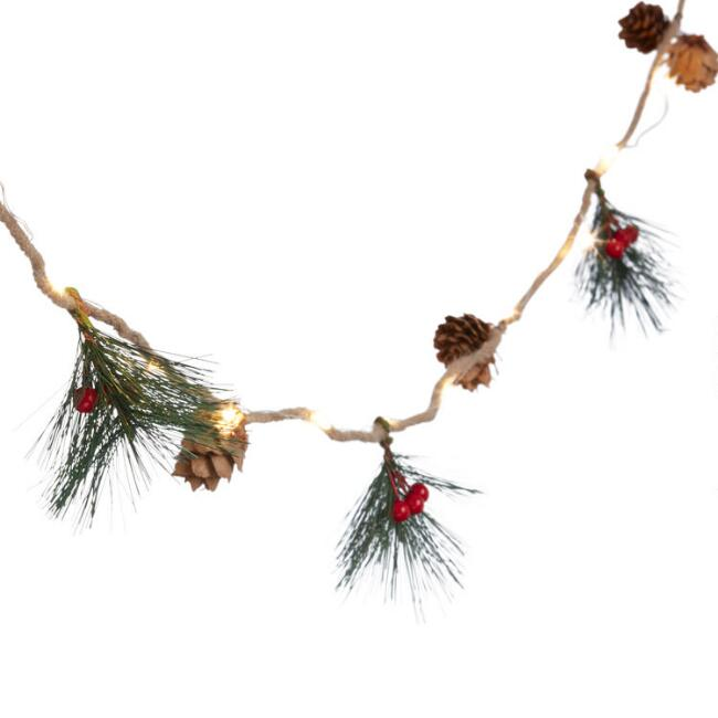 Pinecone Micro Led 20 Bulb Battery Operated String Lights $14.99