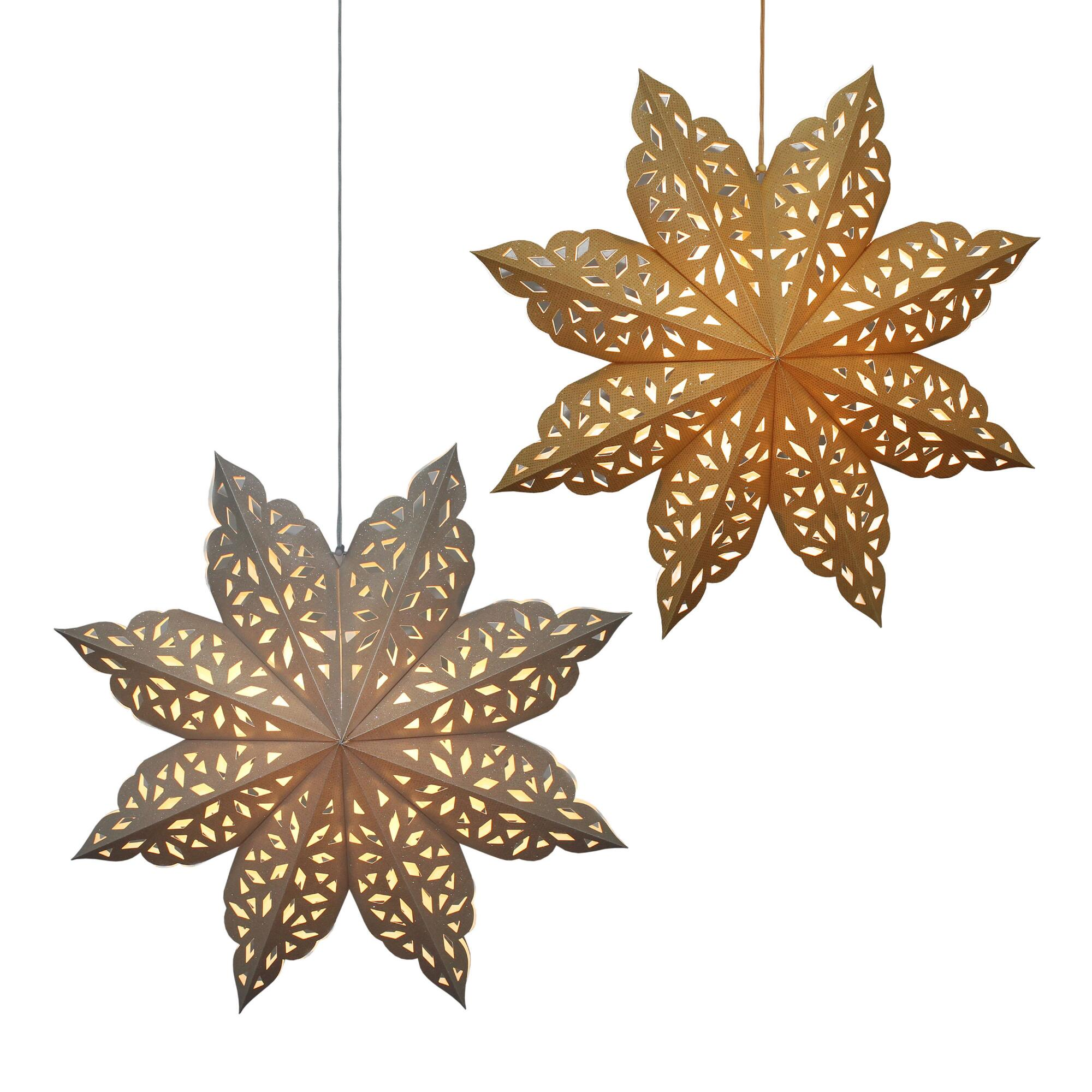 Gold And Silver Glitter Paper Snowflake Lanterns Set Of 2 $25.98