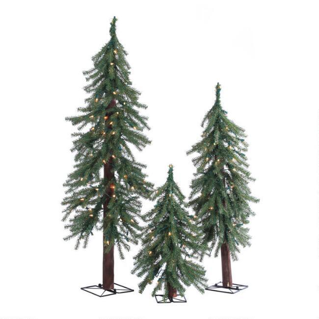 Narrow Pre Lit Artificial Alpine Trees 3 Piece Set $149.99