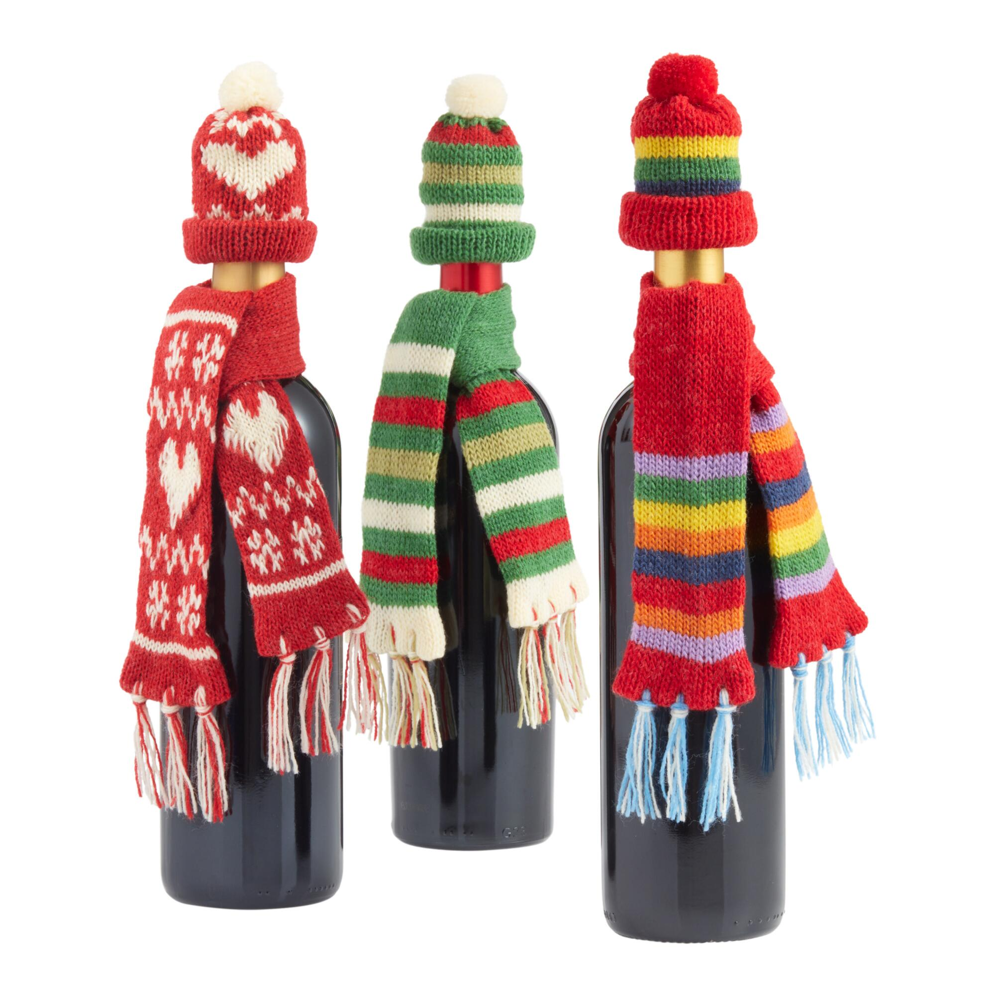 Winter Hat And Scarf Bottle Outfits Set Of 3 $14.97