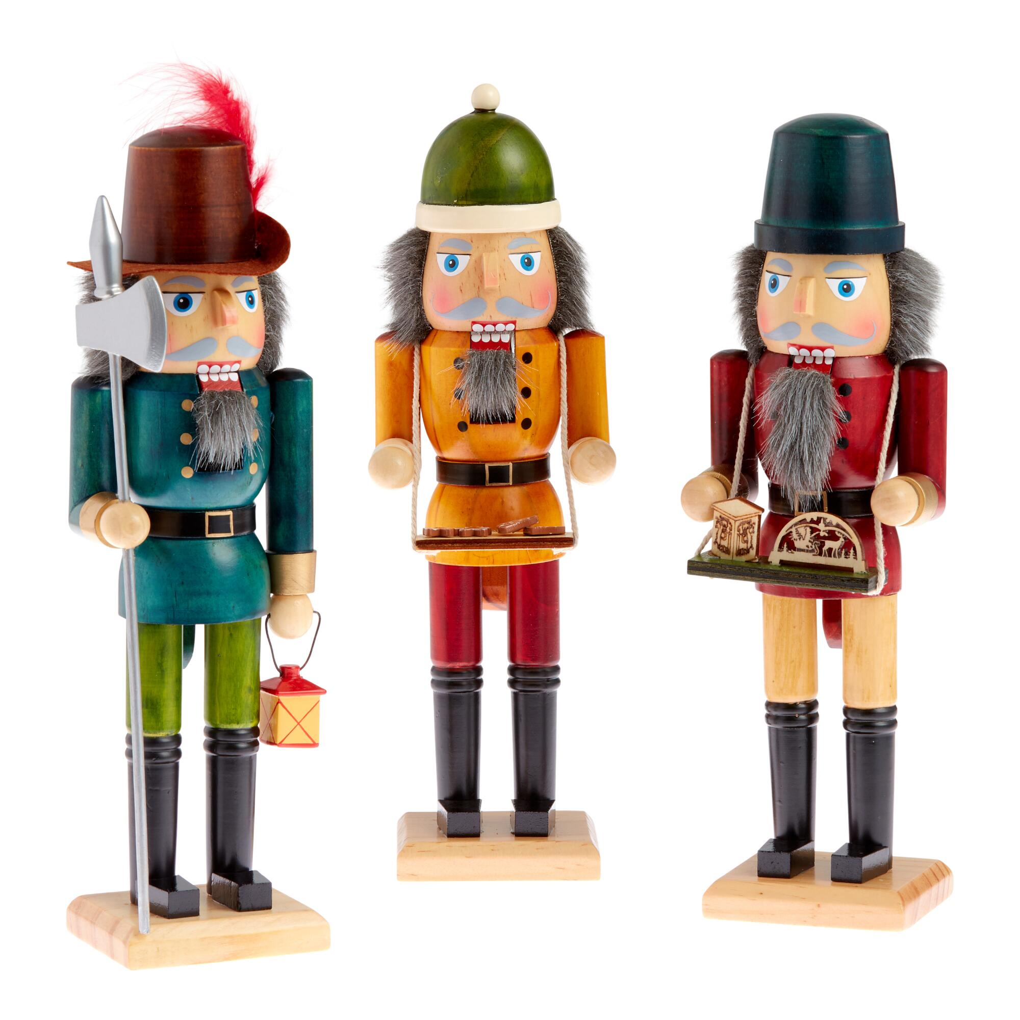 Stained Wood German Style Nutcrackers Set Of 3 $59.97