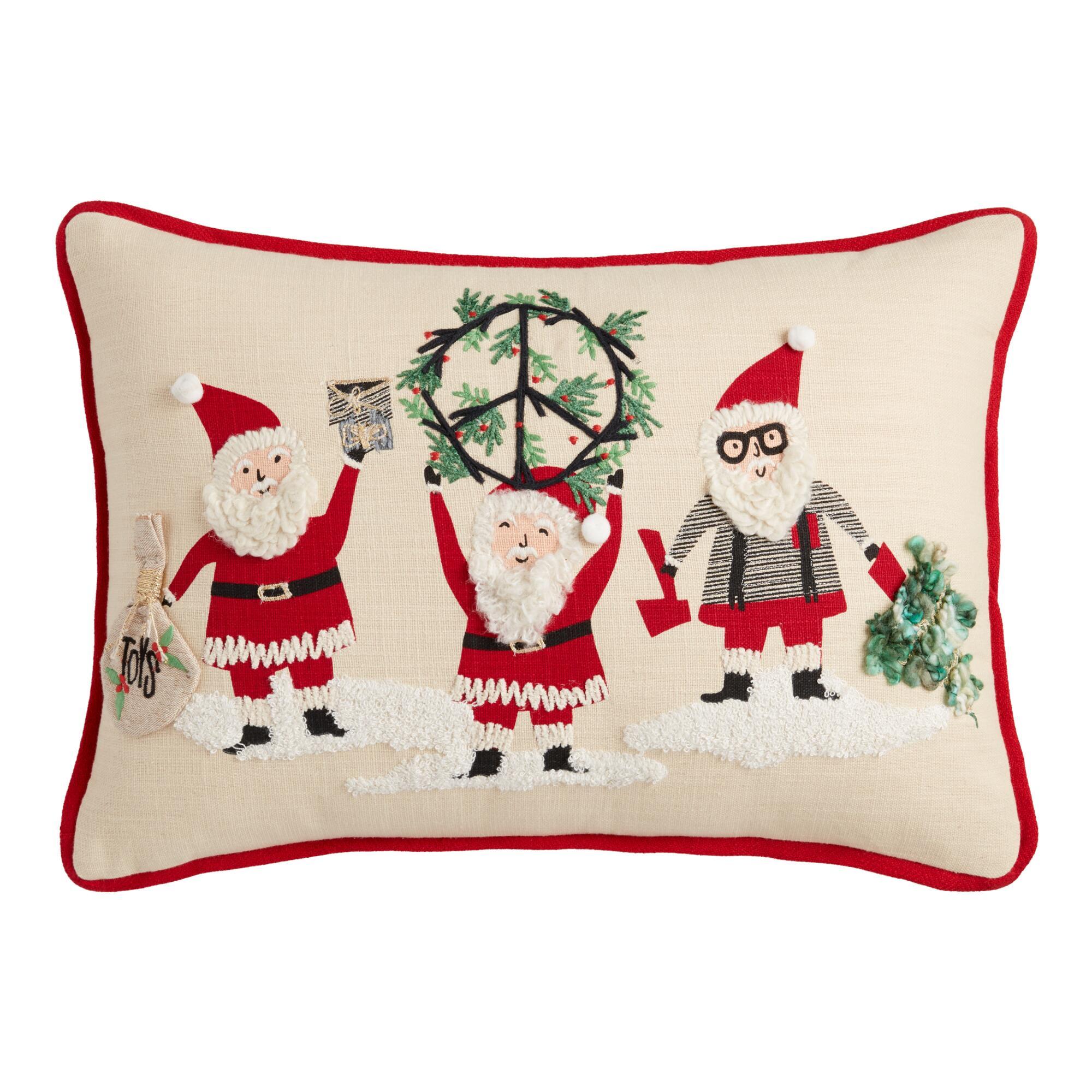 Peace Santas Embroidered Lumbar Pillow $24.99