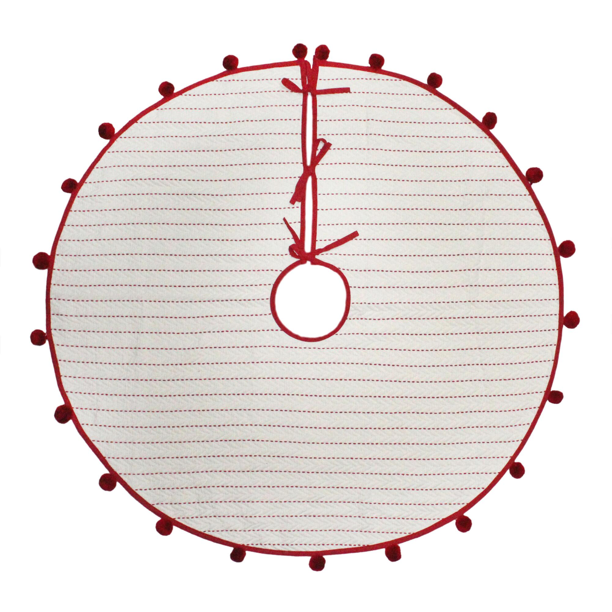 Ivory And Red Velvet Quilted Tree Skirt $34.99