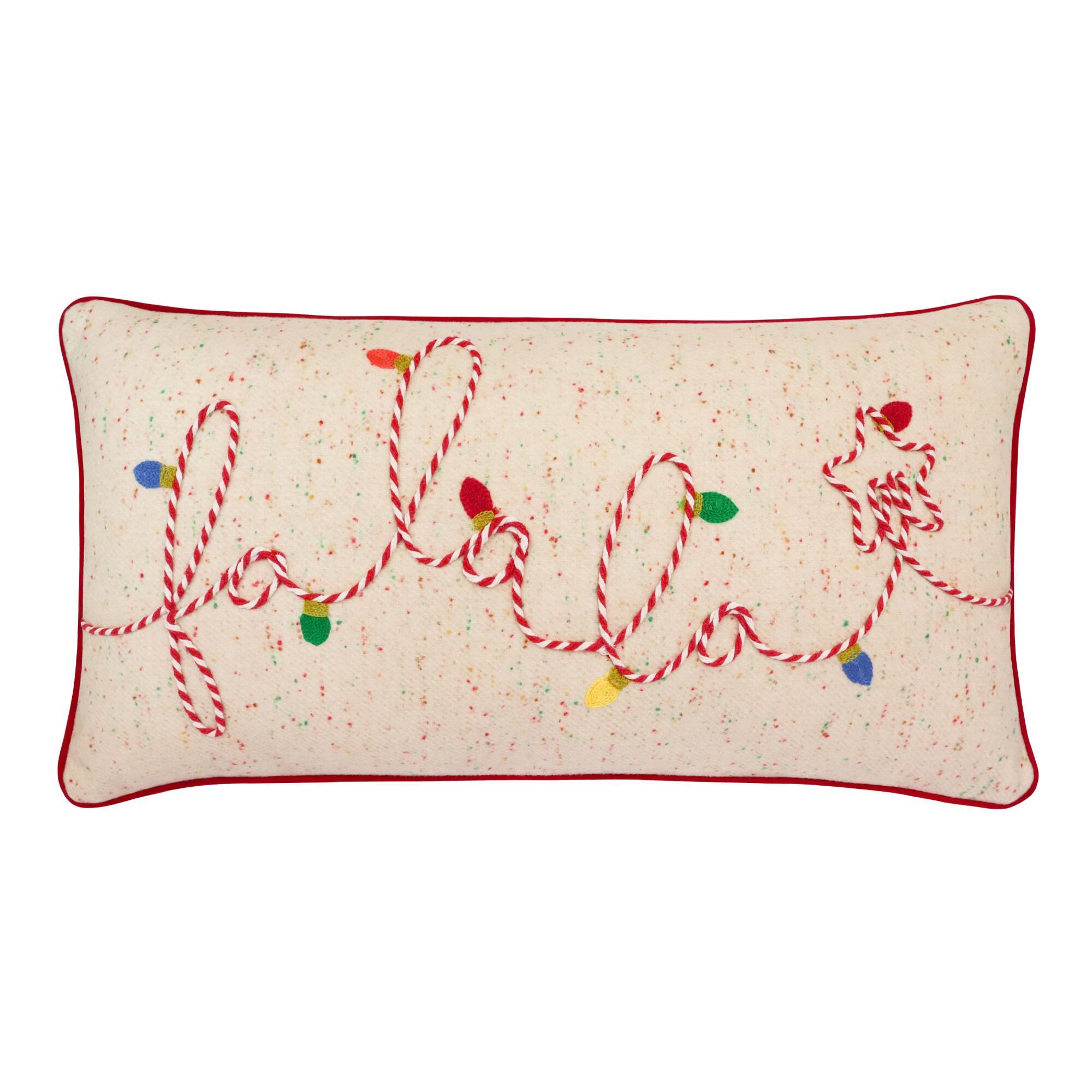 Fa La La Embroidered Lumbar Pillow $24.99