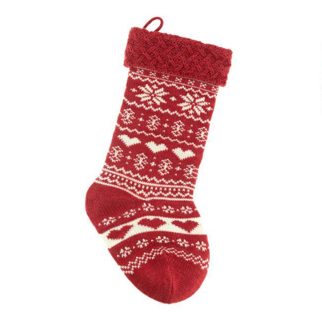 Mini Hearts And Snowflakes Knit Christmas Stocking $9.99