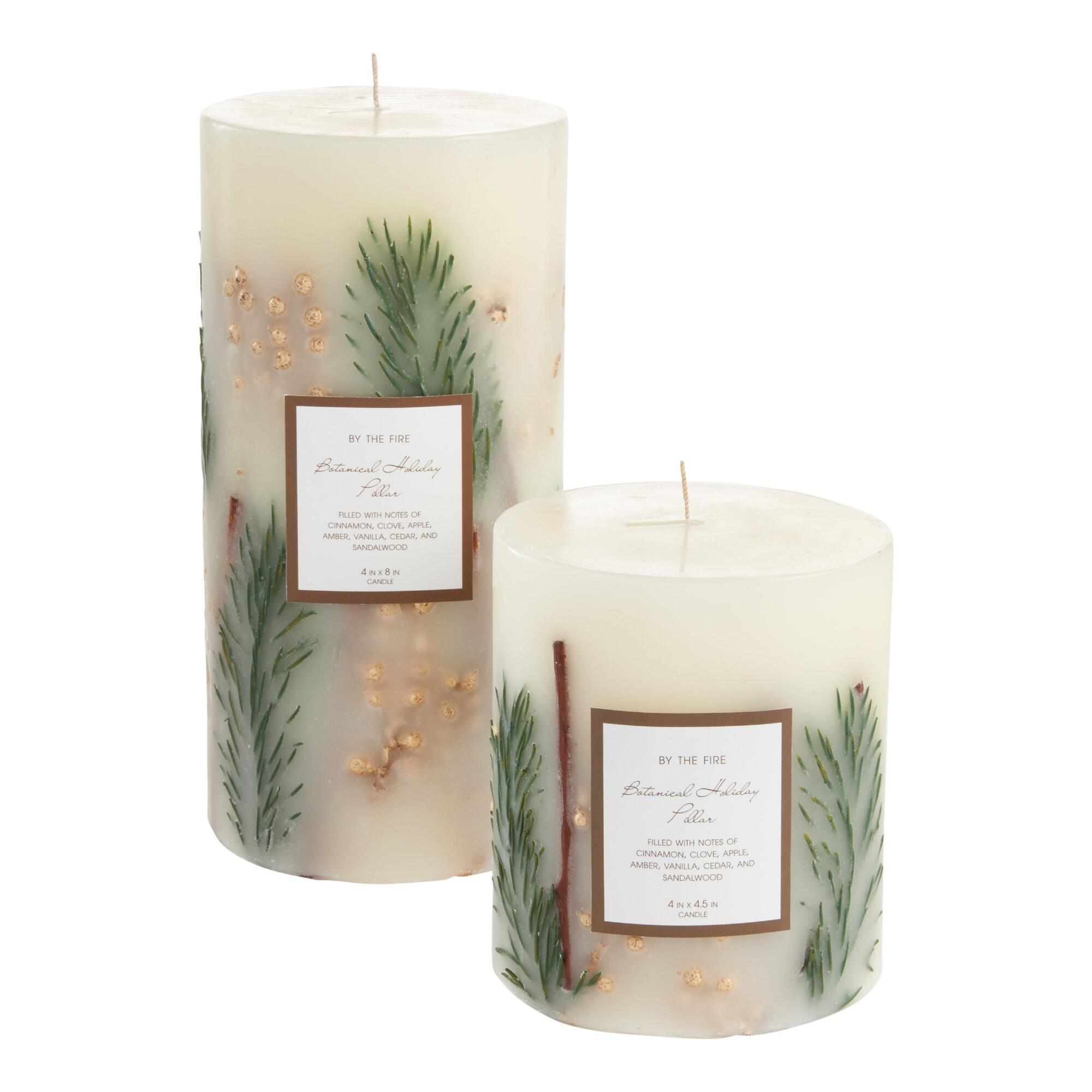 White And Gold Botanical Pillar Candle $14.99-$19.99 https://fave.co/36g3N4z