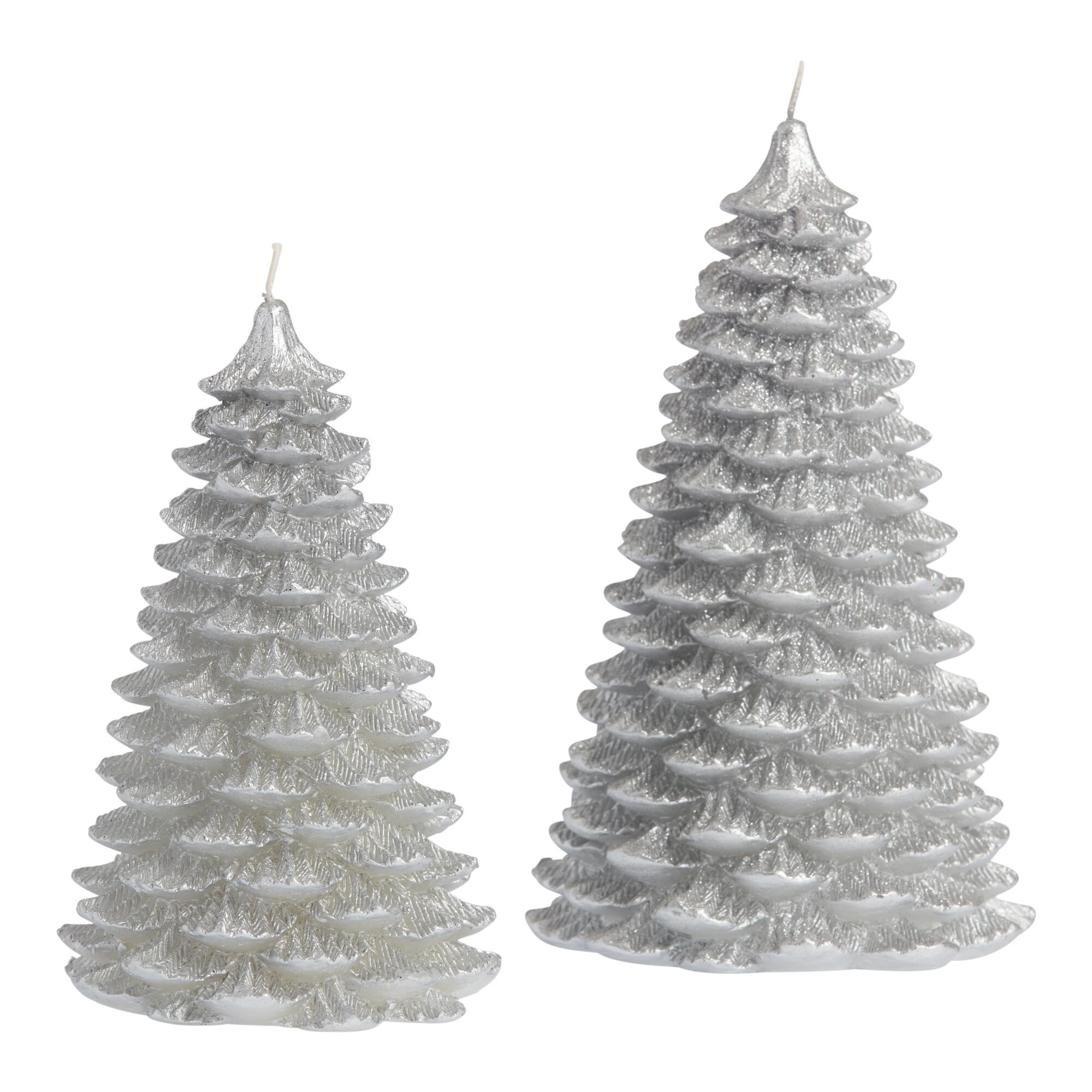 Silver Glittered Christmas Tree Candle $6.99-$9.99