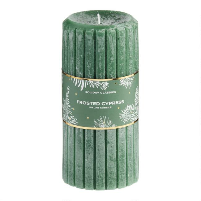 6 Inch Green Frosted Cypress Pillar Candle $7.99