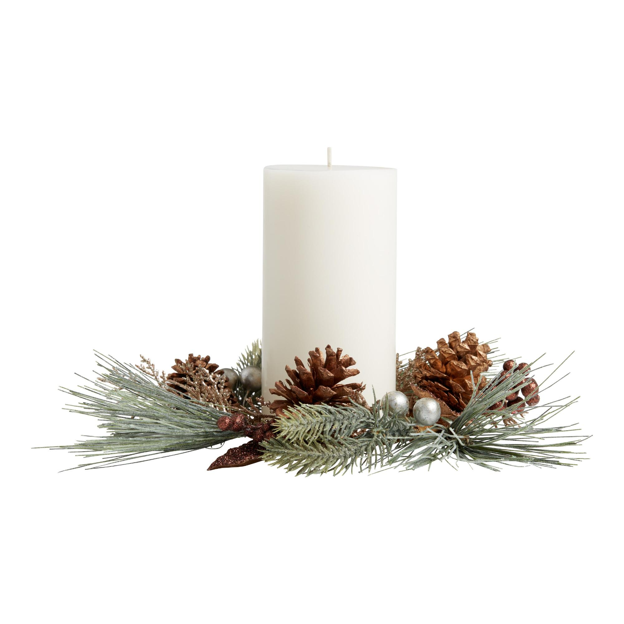 Faux Pine And Gold Berry Candle Ring $7.99