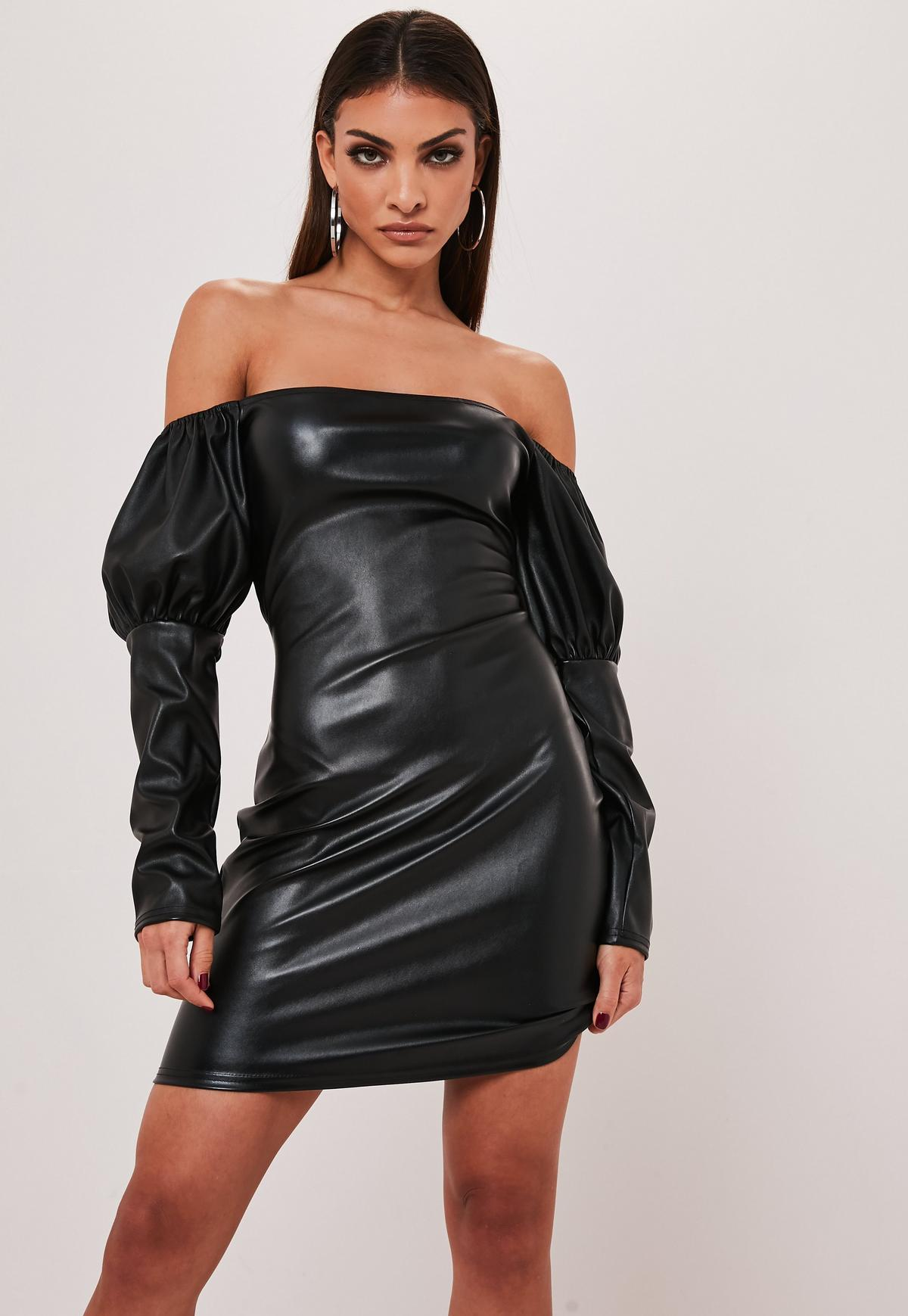 black faux leather bardot mini dress $10.00