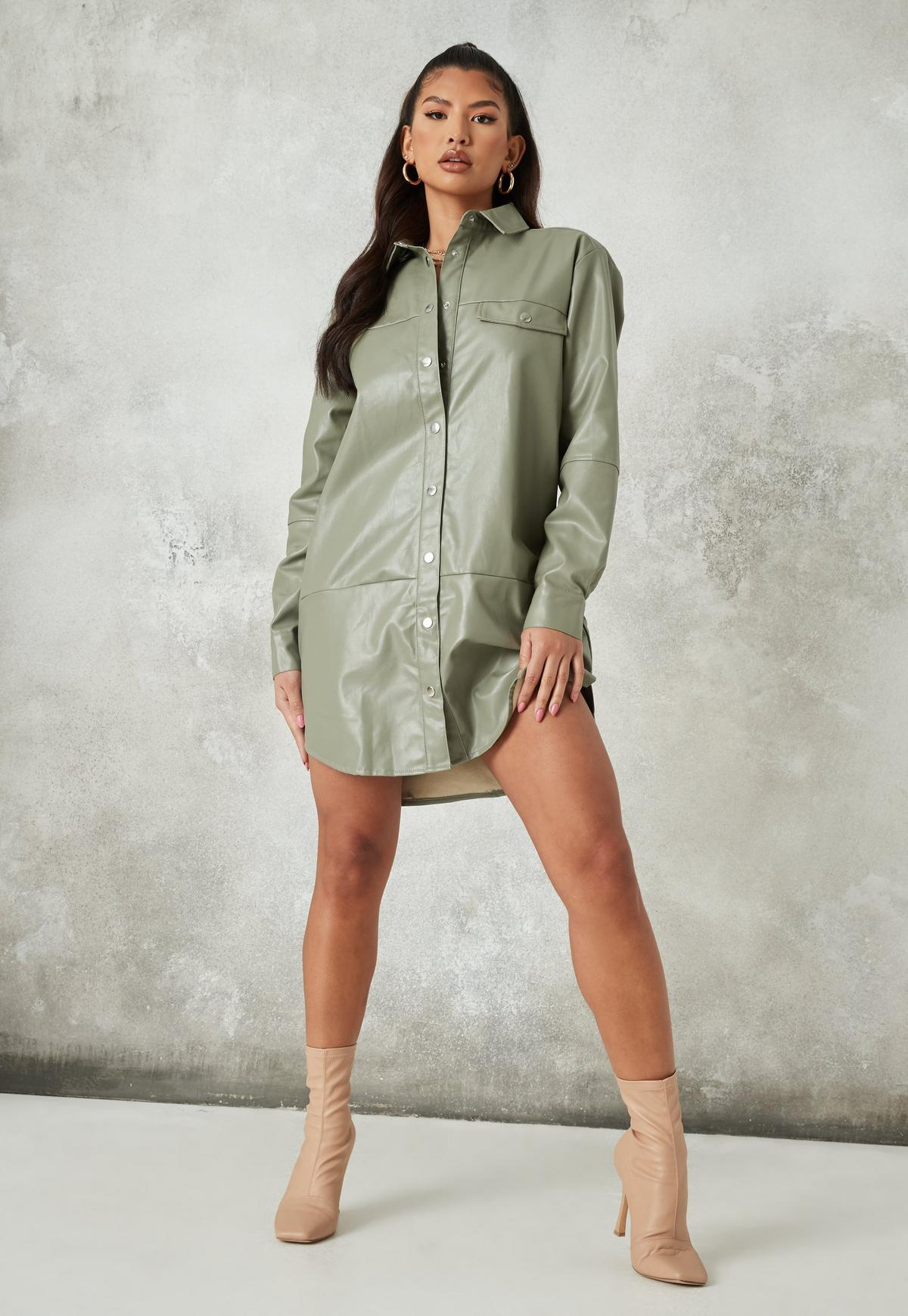 green faux leather oversized panel shirt dress $28.00