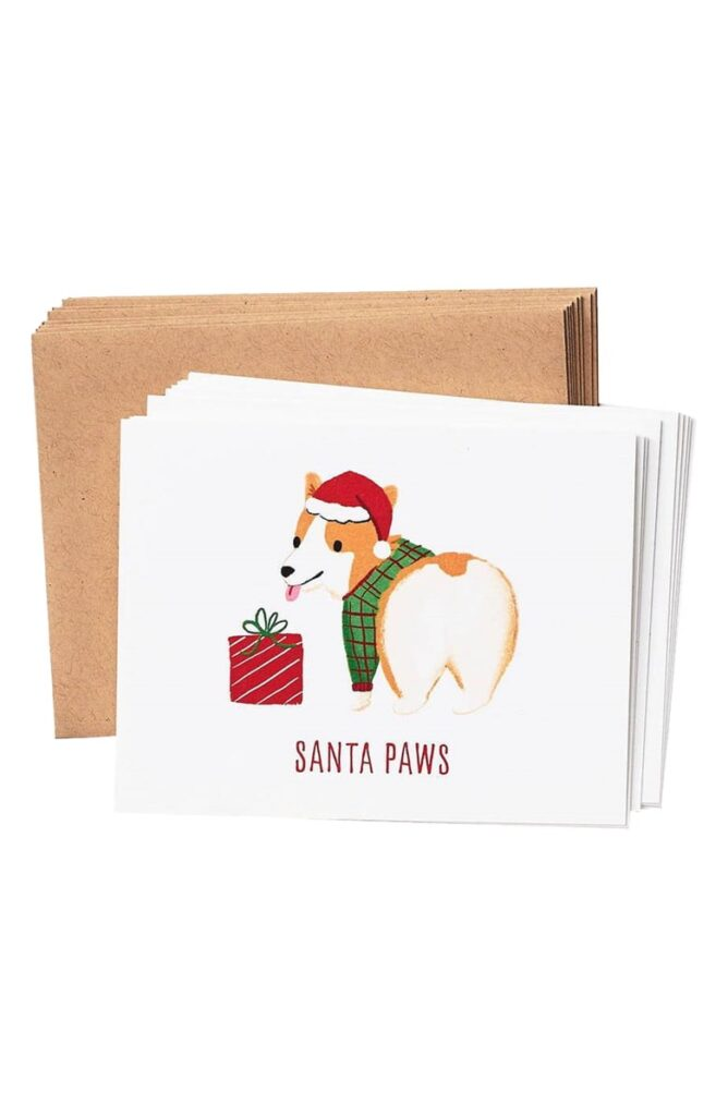 Santa Paws 10-Pack Holiday Card Set $12.95