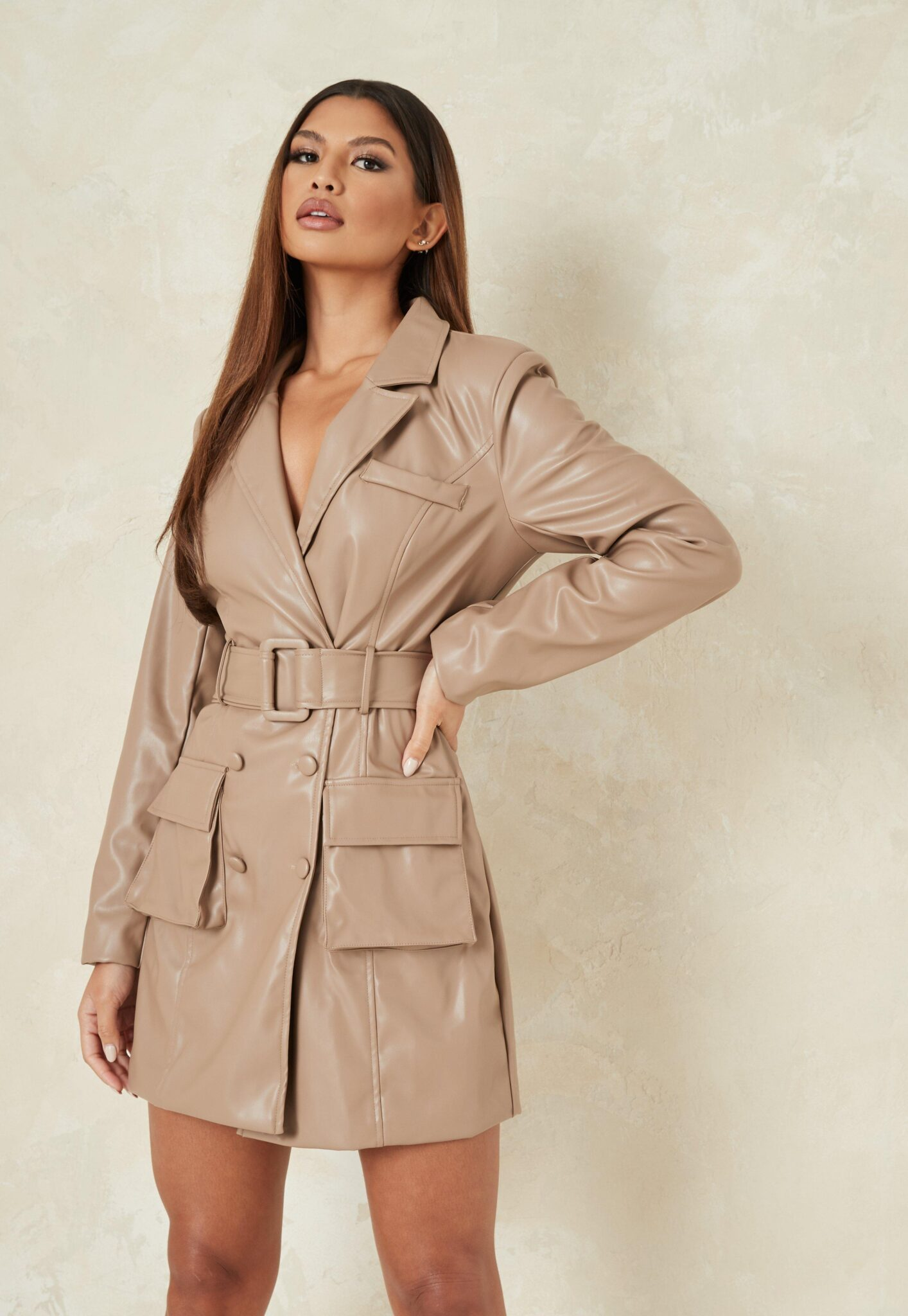 mauve faux leather belted blazer dress $44.00