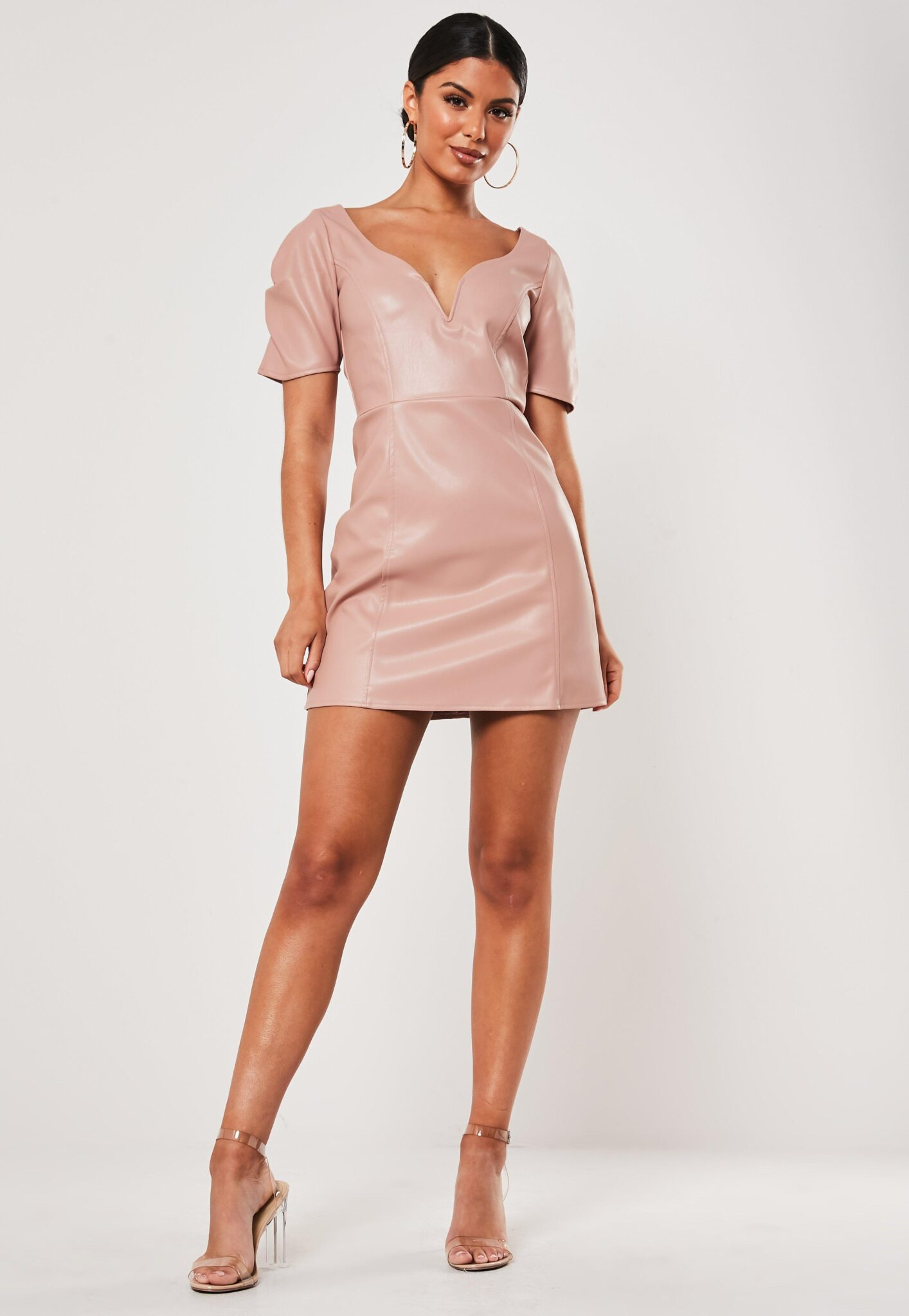 pink faux leather plunge puff sleeve dress $30.00