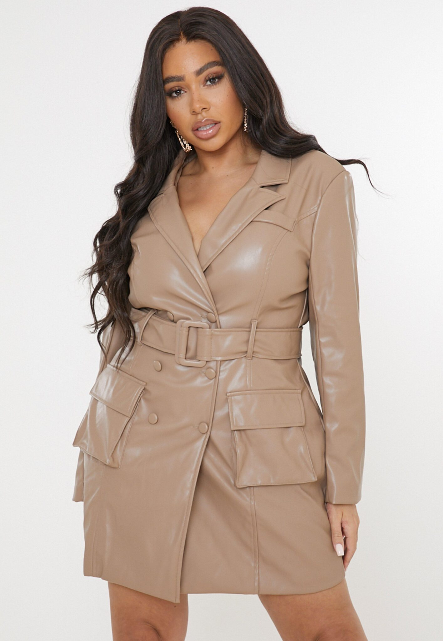 plus size mauve faux leather belted blazer dress $44.00