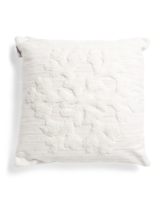 HANDCRAFTED IN INDIA 20x20 Lurex Snowflake Pillow $19.99