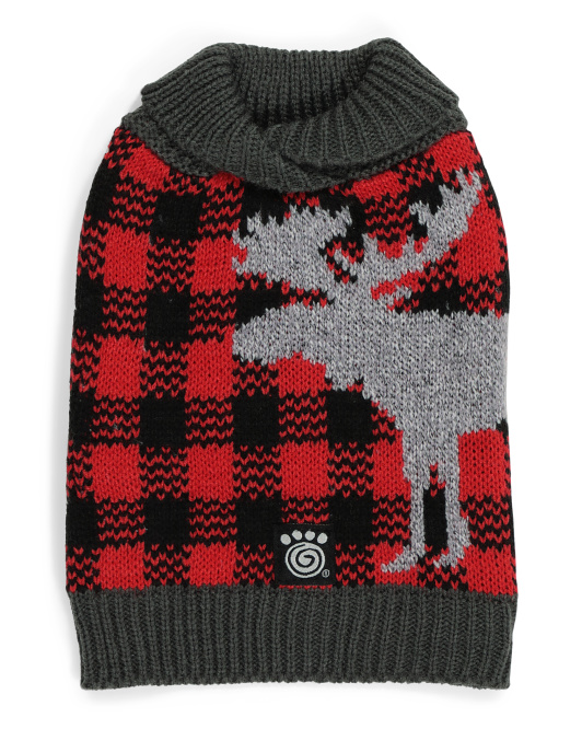 PET RAGEOUS Buffalo Check Moose Pet Sweater $12.99