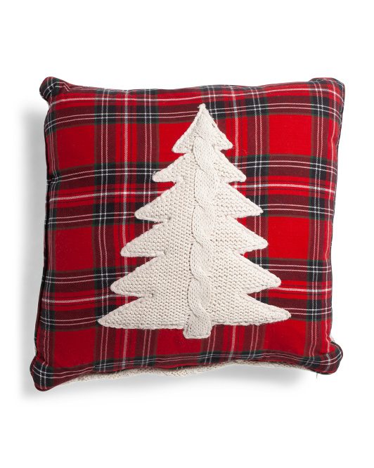 HANDCRAFTED IN INDIA 20x20 Knit Christmas Tree Pillow $24.99