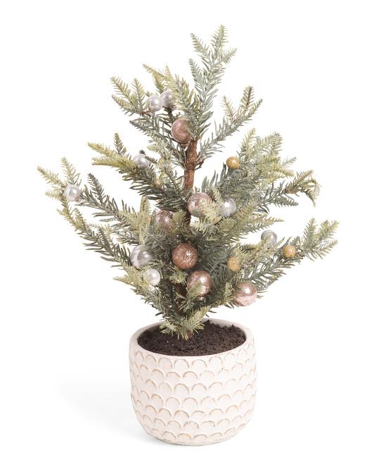 GLITZ & GLIMMER 21in Potted Ornament Pine Tree $19.99